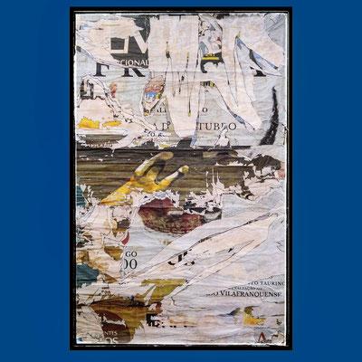 Vilafranquese, décollage with pen, 141 x 98 cm, 2020