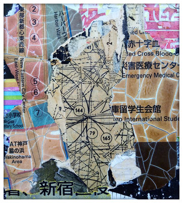 Indicating numbers, décollage, 21 x 19,7 cm, 2019
