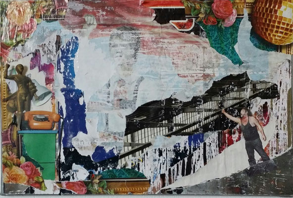 bourgeois facade, Décollage with Collage, 40 x 60 cm, 2014