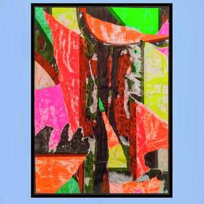 Neon rocks, décollage, 25,6 x 18,3 cm, 2021