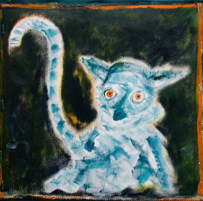 Kleiner Lemur, oil on canvas, 2015, 30 x 30 cm