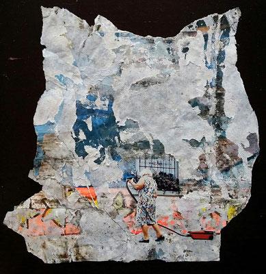 Kehrwoche, Décollage/Collage, 20 x 20 cm, 2016