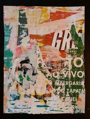"""GR"", Décollage, 24 x 18 cm, 2016"