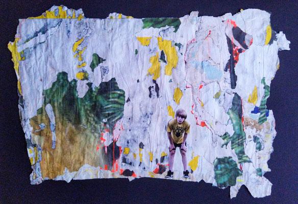 Die 1. Posaune, décollage/collage, 30 x 44 cm, 2020