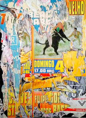 Domingo velho, décollage with charcoal, acrylic, collage, ink on panel, 150 x 109 cm, 2018
