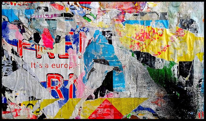 It's a euro..., décollage, 21,8 x 36,5 cm, 2018