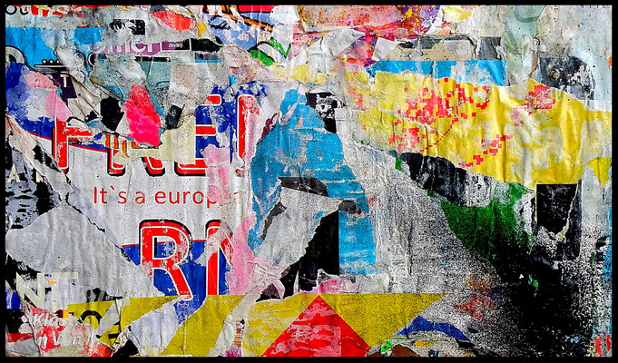 It's a euro..., décollage, 21,8 x 36,5 cm, 2018