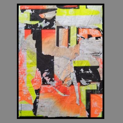 Neon blocks, décollage, 55,0 x 40,8 cm, 2021
