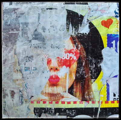 Cor Beijo Like, décollage with schellack, 87,8 x 87,4 cm, 2020