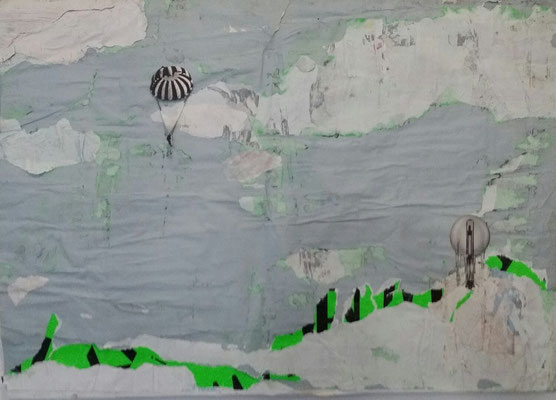 Precision Landing on a Green Planet, Décollage with Collage, 60 x 83 cm, 2014