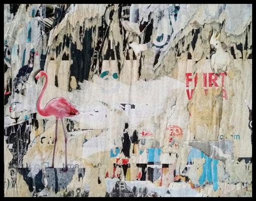 FLIRT, décollage with collage, 24,7 x 31,6 cm, 2019