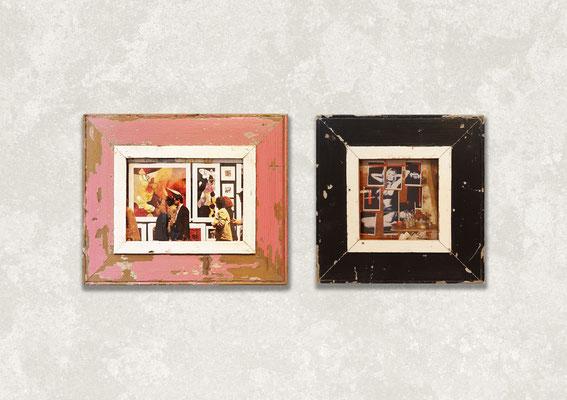 Composizione di due cornici con foto in stile pop con stereo e vinile