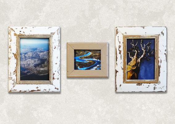 Gruppo di cornici in legno rettangolari con foto di natura Sudafrica