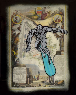 """ERIK BONNET : """"silver surfer"""", 30 x 40 cm, 2017, peinture sur papier vintage marouflé sur toile, """"carte géographique, 1882"""""""