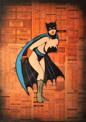 """@ ERIK BONNET : """"bat vampirella"""", 50 x 70 cm, 2015, peinture sur papier vintage marouflé sur toile, """"annuaire téléphonique de la loire, 1952"""""""
