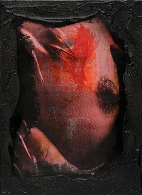 """@ ERIK BONNET : """"A croquer fort"""", techniques diverses sur toile, 2011   { Rouge couleur suprême, sein délice et volupté, sensation troublante, érotique.}  (Mo)"""