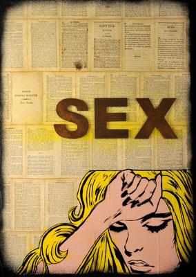 """@ ERIK BONNET : """"nouveaux contes moraux : sex """" 2014, peinture sur papier vintage marouflé sur toile, """"nouveaux contes moraux 1823"""""""