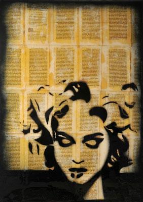 """@ ERIK BONNET : """"m...3"""", 50 x 70 cm, 2015, peinture sur papier vintage marouflé sur toile, """"oraisons funêbres, 1760"""""""