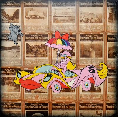 """ERIK BONNET : """"penelope gaie"""", 90 x 90 cm, 2016, peinture sur papier vintage marouflé sur toile, """"revue du touring club de france, 1924"""""""