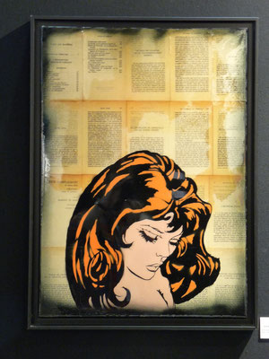 """@ ERIK BONNET : """"mlle de tourville """", 50 x 70 cm, 2016, peinture sur papier vintage marouflé sur toile, """"livre du Marquis de Sade, 1968"""""""