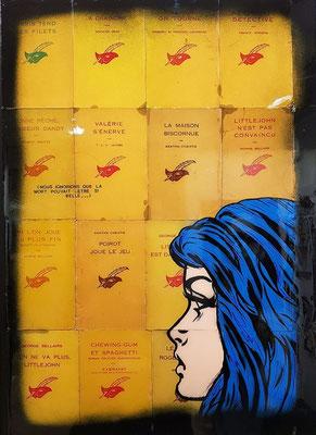 """ERIK BONNET ; """"la mort vous va si bien"""" ,  50 x 70 cm, 2019, peinture sur papier vintage marouflé sur toile, """"pulps books 60's"""""""