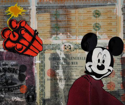 """@ ERIK BONNET : """"jeudi très très noir à la bourse"""", 100 x 100 cm, 2015, peinture sur papier vintage marouflé sur toile, """"actions bousières au porteur, 1889-1926"""""""