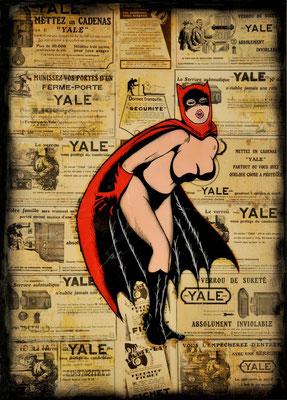 """@ ERIK BONNET : """"Red bat girl"""", 50 x 70 cm, 2015, peinture sur papier vintage marouflé sur toile, """"publicité l'illustration 1925"""""""