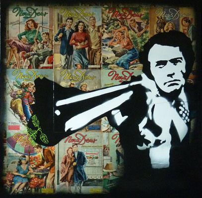 """ERIK BONNET ; """"romantic clint"""" ,  100 x 100 cm, 2019, peinture sur papier vintage marouflé sur toile, """"revue nous deux 50's"""""""