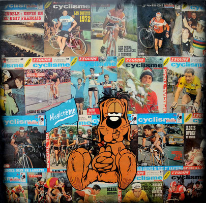 """ERIK BONNET : """"magicrême"""", 100 x 100 cm, 2016, peinture sur papier vintage marouflé sur toile, """"couvertures cyclisme magazines 70's"""""""