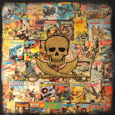 """@ ERIK BONNET : """"cyclone commando"""", 100 x 100 cm, 2015, peinture sur papier vintage marouflé sur toile, """"revues pulp, 1960-1970"""""""