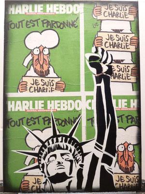"""@ ERIK BONNET : """"Charlie 1 : la liberté restera debout !"""", 50 x 70 cm, 2016, peinture sur papier marouflé sur toile, """"couvertures Charlie Hebdo"""""""