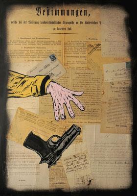 """@ ERIK BONNET : """"beftimmungen"""", 50 x 70 cm, 2015, peinture sur papier vintage marouflé sur toile, """"lettres anciennes diverses, 1863-1931"""""""