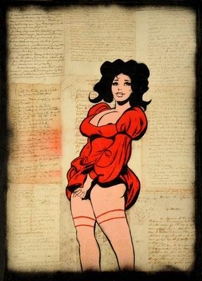 """@ ERIK BONNET : """"charlotte rouge"""", 50 x 70 cm, 2015, peinture sur papier vintage marouflé sur toile, """"lettres diverses 1773 - 1815"""""""