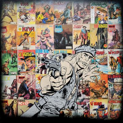 """ERIK BONNET : """"le grand BLEK"""", 100 x 100 cm, 2016, peinture sur papier vintage marouflé sur toile, """"couvertures pulp magazines 70's"""""""