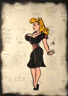 """@ ERIK BONNET : """"Omégaphone"""", 50 x 70 cm, 2015, peinture sur papier vintage marouflé sur toile, """"calligrammes, Guillaume Apollinaire, 1973"""""""