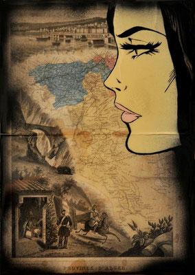 """@ ERIK BONNET : """"et elle regardait la mer..."""", 32 x 45 cm, 2015, peinture sur papier vintage marouflé sur toile, """"carte algérie, 1881"""""""