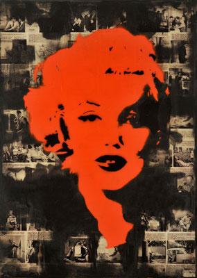 """@ ERIK BONNET : """"marylin ghost : red"""", 50 x 70 cm, 2015, peinture sur papier vintage marouflé sur toile, """"roman photo, 1964"""""""