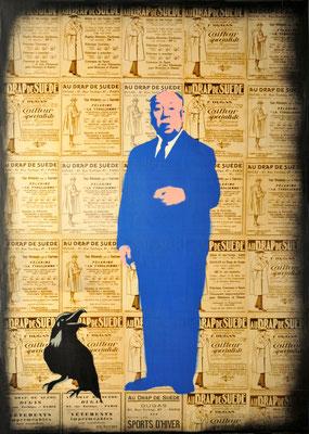 """@ ERIK BONNET : """"blue hitch"""", 50 x 70 cm, 2015, peinture sur papier vintage marouflé sur toile, """"publicités, 1925"""