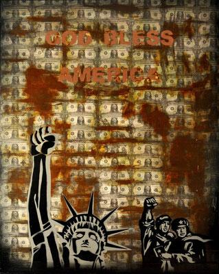 """@ ERIK BONNET : """"god bless américa"""", 80 x 100 cm, 2014, peinture sur papier vintage marouflé sur toile"""