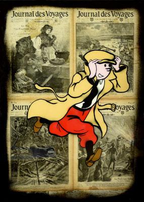 """ERIK BONNET ; """"le grand voyageur"""" ,  50 x 70 cm, 2018, peinture sur papier vintage marouflé sur toile, """"journal des voyages"""""""