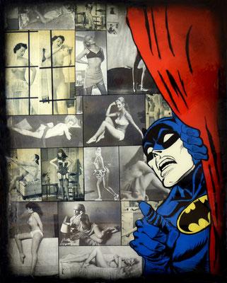 """RIK BONNET ; """"batman a pigalle"""" ,  80 x 100 cm, 2018, peinture sur papier vintage marouflé sur toile, """"photos diverses"""""""