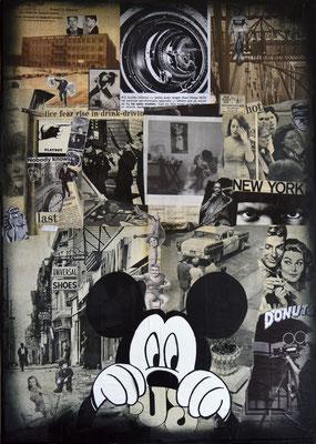"""ERIK BONNET : """"hot new york"""", 50 x 70 cm, 2017, peinture sur papier vintage marouflé sur toile"""