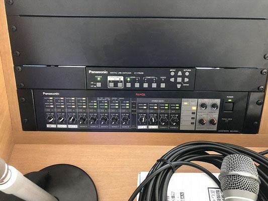 会議室用AV設備のAVワゴン(下部拡大)