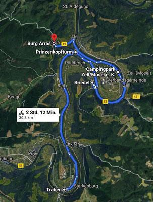 Radtour von Traben via Alf, über den Prinzenkopfturm zurück nach Traben (Google Maps).