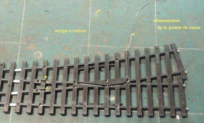Les nouvelles aiguilles, comme celle-ci, ont un joint d'isolation d'origine ponté par dessous , il suffira donc dans ce cas de retirer les deux pont en dessous.