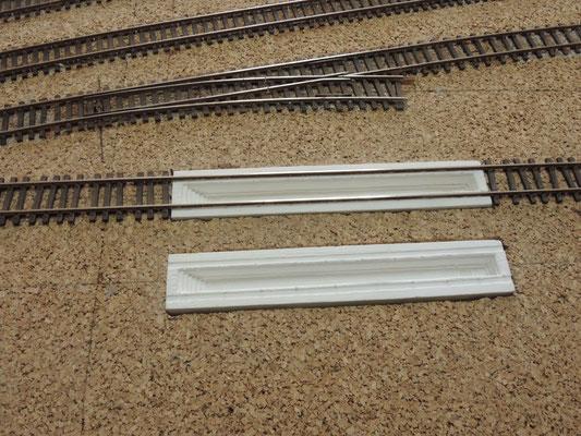 Premiers tests de hauteur des fosses avec la voie.