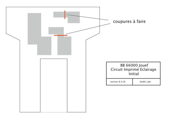 Le schéma du circuit imprimé initial débarrassé de l'ampoule et des fils Jouef