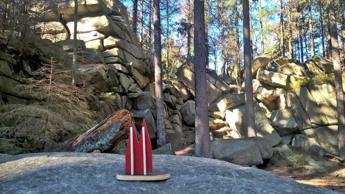 Deutschland, Harz: Die Mauseklippe ist eine Granitfelsformation mitten im Wald und liegt an einem sensationellen Wanderweg in der Nähe der Ortschaft Schierke. (Petra & Friedbert)