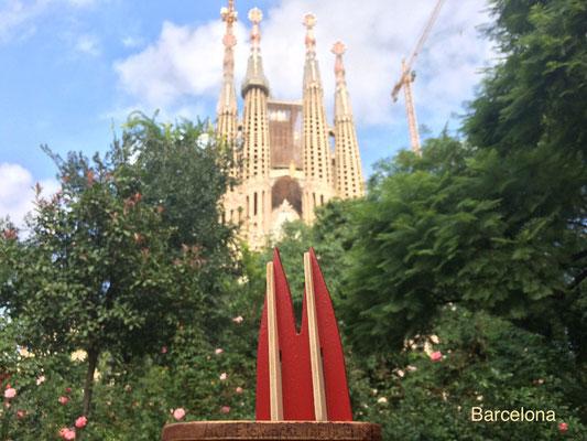 Spanien, Barcelona, Sagrada Familia, Weltkulturerbe. Hier von einem verhältnismäßig ruhigen Ort aus gesehen. Leider ist das Gaudi-Bauwerk von Touristen hoffnungslos überlaufen (Nina)