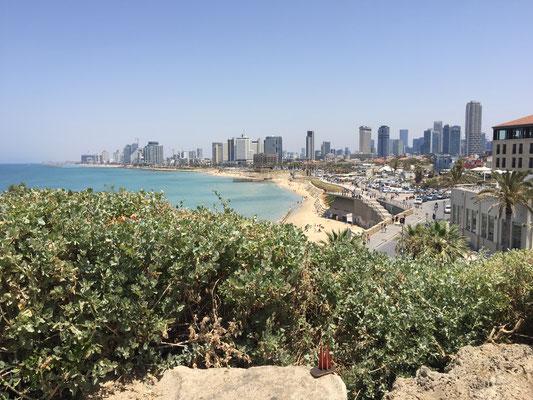 Israel, Tel Aviv-Jaffa: Von hier oben hat man einen sensationellen Blick auf den berühmten Strand und die Skyline von Tel Aviv. Im Hintergrund ruft der Muezzin zum Gebet.